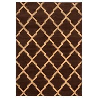 Rizzy Home Millington Collection Power-loomed Ikat Brown/ Ivory Rug (6'7 x 9'6)
