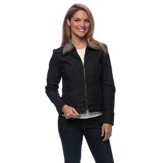 Live A Little Women's Fur Collar Zip Front Denim Jacket