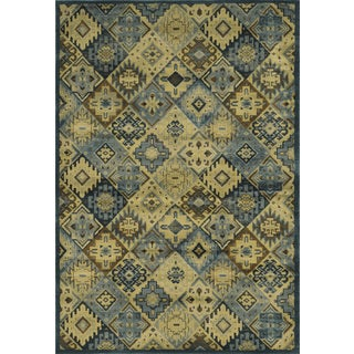 Rizzy Home Sorrento Collection Power-loomed Geometric Blue/ Beige Rug (7'10 x 10'10)