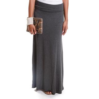 Hadari Women's Solid Foldover Maxi Skirt