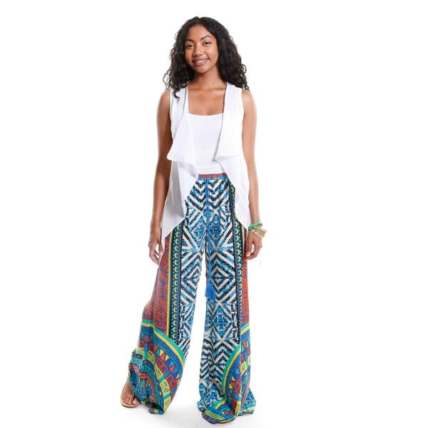 Hadari Women's Draped Vest with Tribal Print Palazzo Pants (2-Piece Outfit)