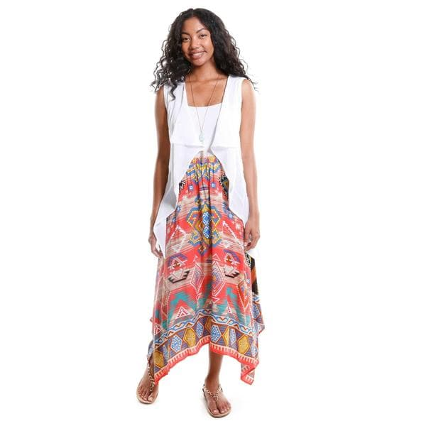 Hadari Women's Draped Vest with Tribal Print Skirt (2-Piece Outfit)