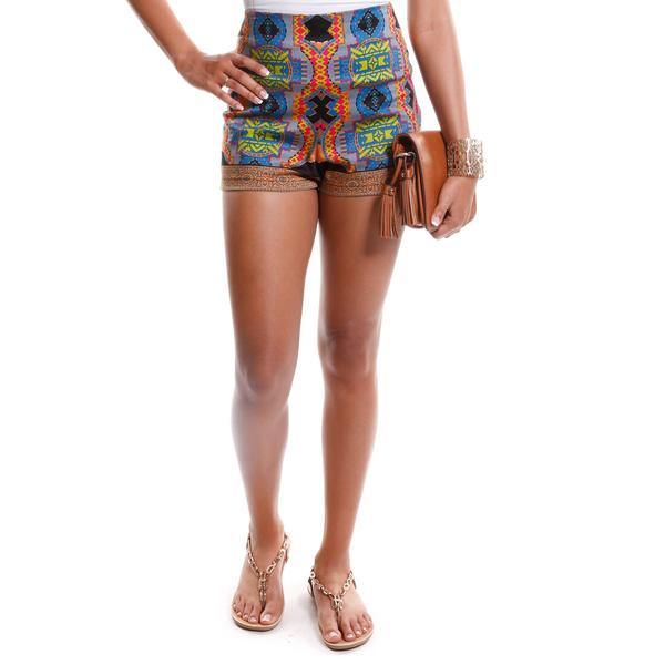 Hadari Women's Tribal Print High Waisted Shorts