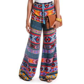 Hadari Women's Contemporary Tribal Print Palazzo Pants