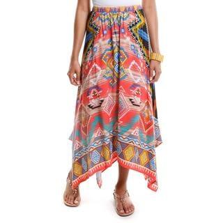 Hadari Women's Decorative Print Maxi Skirt