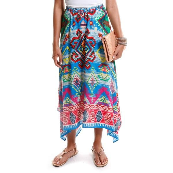 Hadari Women's Tribal Print Handkerchief Hem Skirt
