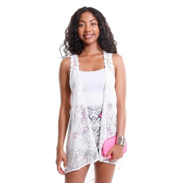 Hadari Women's Sheer Lace Vest and Tribal Print High Waisted Shorts (2 Piece Outfit)