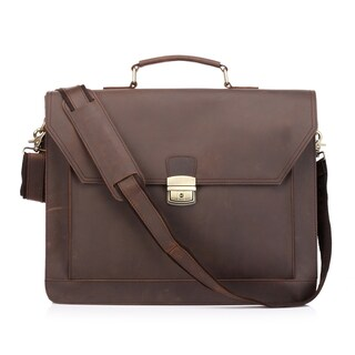 Vicenzo Leather Professional Full Grain Leather 14-inch Laptop Messenger Briefcase