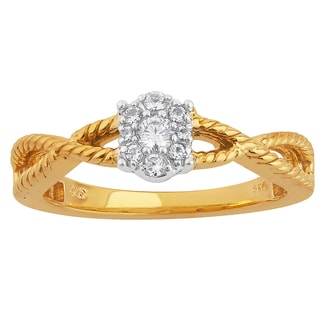 10k Two-tone Gold 1/6ct TDW Diamond Oval Cluster Top Engagement Ring (H-I, I1-I2)