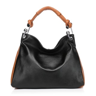 Melissa Leather Tote Shoulder Handbag - Black