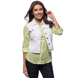 Live A Little Women's Button Front Fitted Jean Vest