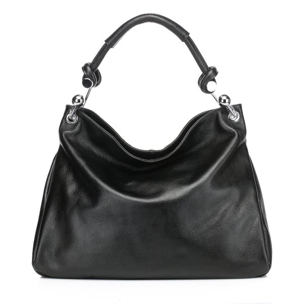 Kimberly Leather Tote Shoulder Handbag -Black