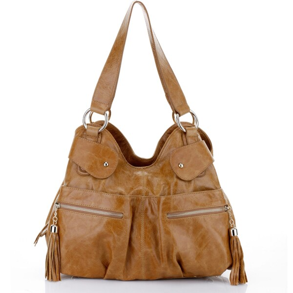 Athena Italian Leather Handbag - Tan