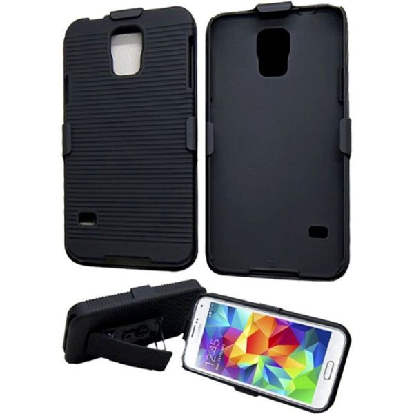 Insten Black Hard Snap-on Rubberized Matte Phone Case Cover with Holster For Samsung Galaxy S5
