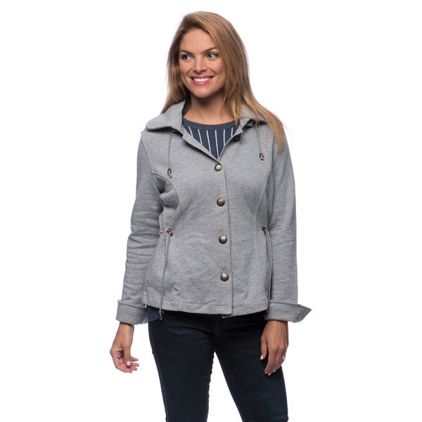 Live A Little Women's Grey Hooded Drawstring Waist Jacket