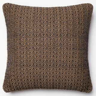 Indoor/ Outdoor Hudson Black/ Gold Chevron Polyester Filled 18-inch Throw Pillow or Pillow Cover
