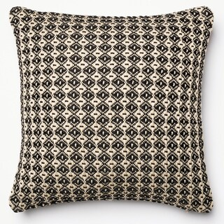 Indoor/ Outdoor Hudson Black/ Beige Polyester Filled 18-inch Throw Pillow or Pillow Cover