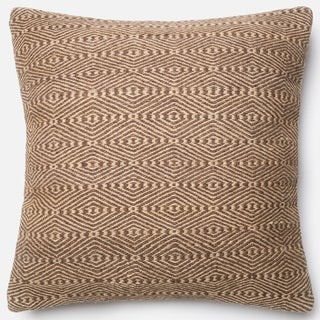 Poplin Natural Brown/ Beige Woven Wool Down Feather or Polyester Filled 22-inch Throw Pillow or Pillow Cover