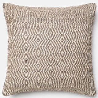 Poplin Natural Grey Woven Wool Down Feather or Polyester Filled 22-inch Throw Pillow or Pillow Cover