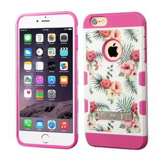 Insten Hot Pink/ White Hawaiian Hibiscus Hard PC/ Silicone Dual Layer Hybrid Phone Case Cover with Stand For Apple iPhone 6 Plus