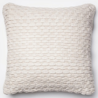 Rhythm White Felted Wool Down Feather or Polyester Filled 22-inch Throw Pillow or Pillow Cover