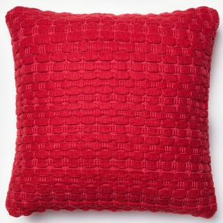 Rhythm Red Felted Wool Down Feather or Polyester Filled 22-inch Throw Pillow or Pillow Cover