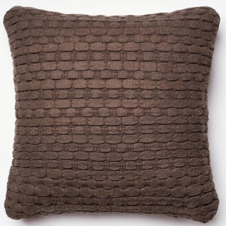 Rhythm Brown Felted Wool Down Feather or Polyester Filled 22-inch Throw Pillow or Pillow Cover