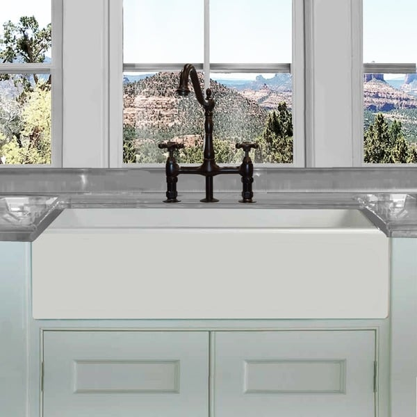 20 Inch Farmhouse Sink : ... White 36-inch Single Bowl Rectangle Fireclay Farmhouse Kitchen Sink