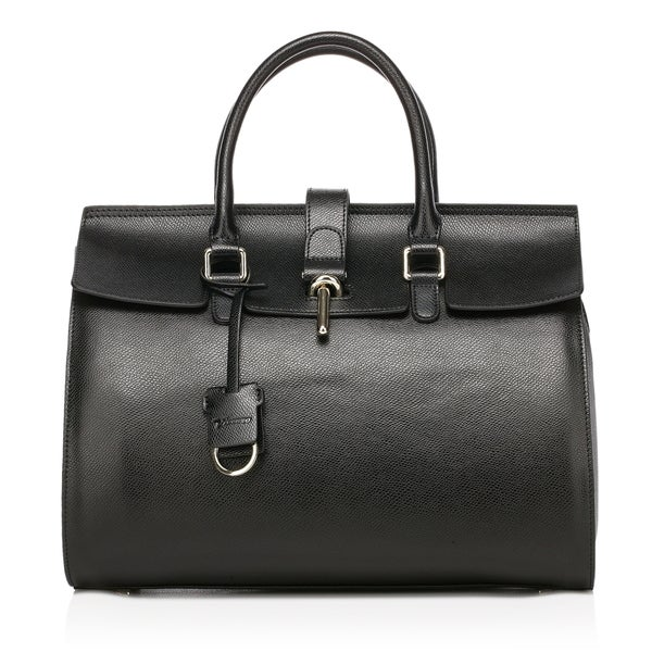 Caine Top Handle Tote Leather Handbag - Black