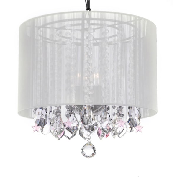 3-light Chandelier Pendant with Crystals/ White Shade and Pink Stars
