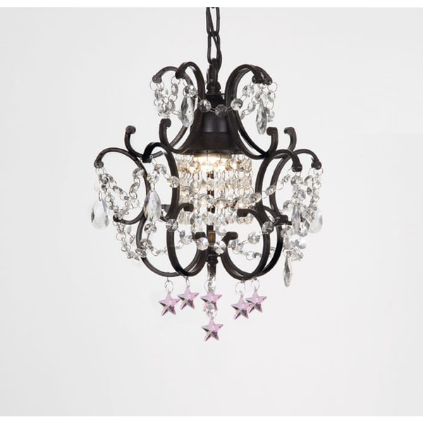 Wrought Iron and Crystal Black Chandelier Pendant with Pink Stars
