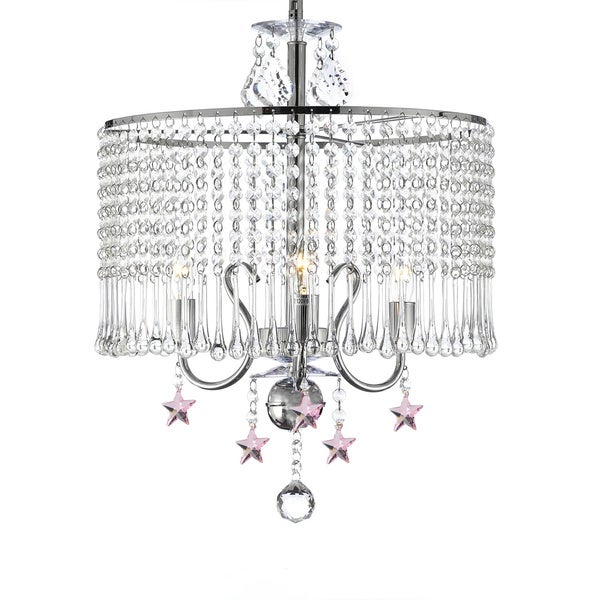 Contemporary Crystal Chrome Chandelier with Pink Stars