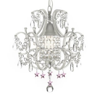 Wrought Iron and Crystal White Chandelier Pendant with Pink Stars