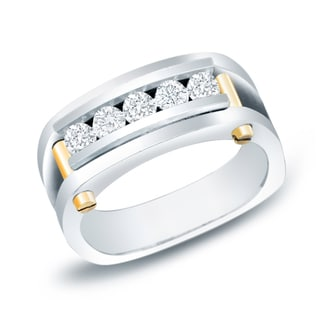 Auriya 14k Two-tone Gold Men's 3/4ct TDW Five Stone Diamond Ring (H-I, SI1-SI2)