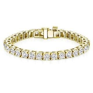 Auriya 18k Yellow Gold 16 1/4ct TDW Diamond Tennis Bracelet (H-I, SI1-SI2)