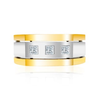 Auriya 14k Two-tone Gold Men's 1/2ct TDW Diamond Satin Ring (H-I, SI1-SI2)