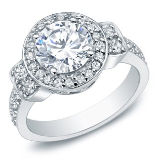 Auriya 14k White Gold 2 3/4ct TDW Certified Round Diamond Engagement Ring (I-J, I1-I2)