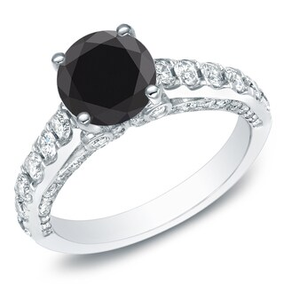 Auriya 14k Gold 1 3/4ct TDW Round Black Diamond Engagement Ring (I-J, SI2-I1)