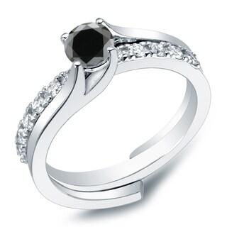 Auriya 14k Gold 1ct TDW Round Black Diamond Bridal Ring Set (H-I, I1-I2)