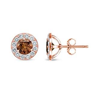 Auriya 14k Rose Gold 1/2ct to 2ct TDW Brown Diamond Stud Earrings (SI1-SI2)