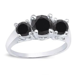 Auriya 14k Gold 1ct TDW Round Black Diamonds 3 Stone Engagement Ring