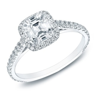Auriya 14k Gold 1 1/2ct TDW Certified Asscher-cut Diamond Halo Engagament Ring (H-I, VS1-VS2)