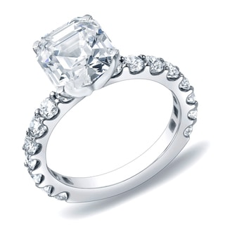 Auriya 14k Gold 1 3/4 ct TDW Certified Asscher-Cut Diamond Engagement Ring (H-I, VS1-VS2)