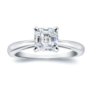 Auriya 18k Gold 3/4ct TDW Asscher-Cut Diamond Solitaire Engagement Ring (H-I, VS1-VS2)