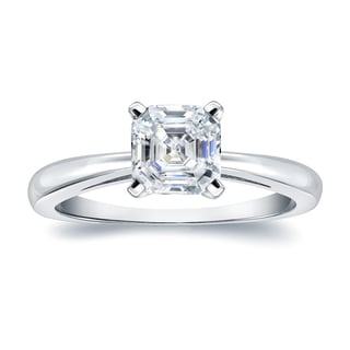 Auriya Platinum 3/4ct TDW Asscher-Cut Diamond Solitaire Engagement Ring (H-I, VS1-VS2)