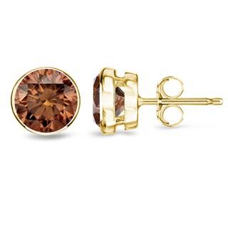 Auriya 14k Yellow Gold 1/2ct to 2ct TDW Bezel-set Brown Diamond Stud Earrings (SI1-SI2)