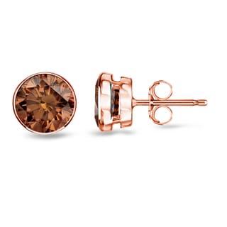 Auriya 14k Rose Gold 1/2ct to 2ct TDW Bezel-set Brown Diamond Stud Earrings (SI1-SI2)