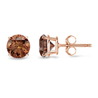 Auriya 14k Rose Gold 1/2ct to 2ct TDW 4-Prong Brown Diamond Stud Earrings (SI1-SI2)