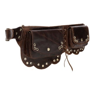 Vicenzo Leather Nieve Chic Dark Brown Genuine Leather Fanny Pack/ Waist Pack