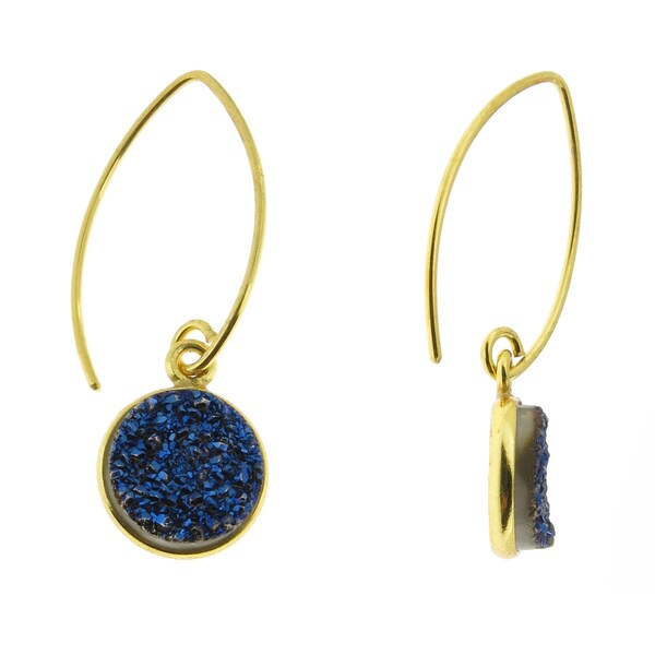 Handmade Vermeil Gold Druzy Drop Earrings (USA)